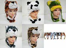 New Cartoon Animal Cap Hat Plush Earmuff Scarf Winter Fluffy Soft Fuzzy Warm