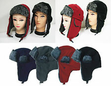Trapper Aviator Winter Hat Earflap Fleece Fur Bomber Snow Ski Cap Warm One Size