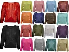 Haut femme manches longues crochet maille pull en mailles Mesdames Holey fish net stretch top