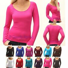 Soft Ultra Stretch Seamless Round Crew Neck Long Sleeve U TEE T Shirt Solid TOP