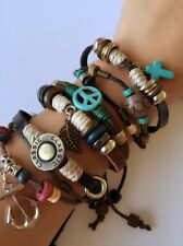 Men Women Retro Anchor Cross leather Tribal Bracelet Wristband band gift him