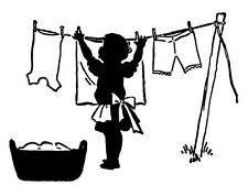 Laundry room wall decal sticker girl hanging laundry