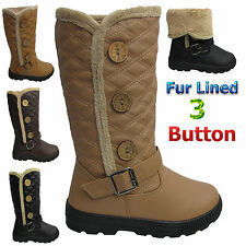 WOMENS QUILTED FUR LINED 3 THREE BUTTONS ANKLE LADIES BOOTS SHOES SNOW MID CALF