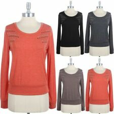 Studded Shoulder Round Neck Pullover Sweater Top Long Sleeve Casual Comfy S M L