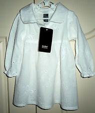 "Girls New ""Zara Kids"" White Anglaise Broderie Babydoll/Kaftan Top - Sizes 2-7Yrs"