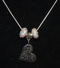 Silver Plated Necklace with Heart Pendant Saying Love Charm