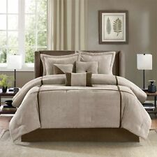 BEAUTIFUL MODERN CASUAL BEIGE BROWN TAUPE STRIPE CABIN TEXTURED COMFORTER SET