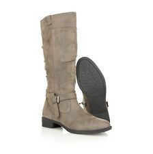Womens Boots Leather Insole Full Zip Buckle Biker Winter Knee High Boots Size