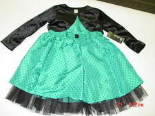 NWT Toddler Girls Elegant 2 piece Holiday Party Dress Teal Green Black Jacket
