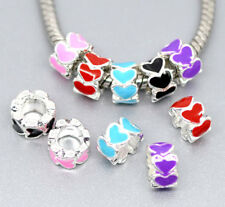 Wholesale Lots Mixed Silver Plated Enamel Spacer Beads Fit Charm Bracelet 8x5mm