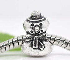 Wholesale Lots Silver Tone Snowman Spacer Beads Fit Charm Bracelet 13x10mm