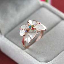 18K Rose Gold GP Crystal White Flower Ring Size 6,7,8,9 UP1