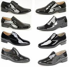 New Mens Black Lace Up Leather Lined Patent Dress Wedding Shoes Formal Fashion