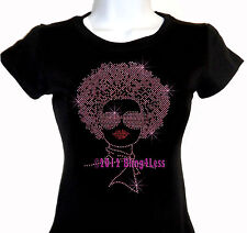 Lady with Afro - PINK - Rhinestone Iron on T-Shirt - Pick Size S-3XL - Bling