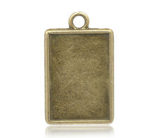 Wholesale Lots Bronze Tone Cameo Frame Setting Pendants 29x18mm