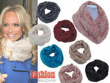 Ladies Soft Fur Feel Snood Scarf Winter Cowel Cowl Rose Fashion Snood Gift Idea