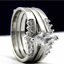 New 2 PC Stainless Steel Engagement Wedding Womans Wedding Bridal Band Ring Set