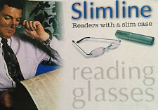 SUPER COMPACT SLIMLINE MAGNIFYING METAL FRAMED READING GLASSES WITH A SLIMCASE