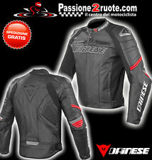 Giacca Dainese pelle racing c2 nero rosso moto