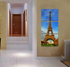 Eiffel Tower ready to hang 3 panel wall art print mounted/Better than canvas art