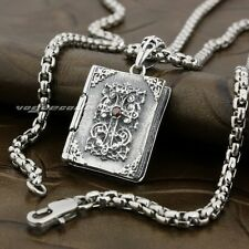 Openable Holy Bible Cross Ruby CZ 925 Sterling Silver Pendant 8P017A
