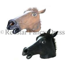 RUBBER HORSE HEAD FANCY DRESS HAT MASK BROWN BLACK WHITE COSTUME PARTY PANTO
