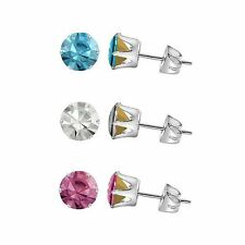 Swarovski Elements Stud Earrings - Sterling Silver Round 5.25mm Crystal Chatons