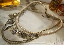 Multilayer Lovely Heart Leaf Ball Charms Chain Rhinestone Pearl Necklace