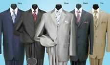 Men's 2 piece 3 Button Milano Moda Elegance Wool Feel Sharkskin Look Suit 58025
