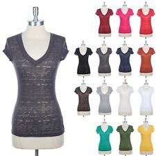 Burnout Short Sleeve V Neck T Shirt Basic Top Casual Layering Cotton Poly S M L
