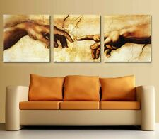 """""""The HANDS"""" art theme Modern Canvas Print Set of 3 Framed ready to hang clock"""