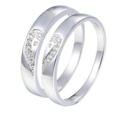Sterling Silver .925 Couple Love Heart CZ Wedding Bands Rings Size 4 -10 Sy72