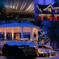 224LED Snow Icicle Curtain Fairy Lights Hanging Outdoor Window Christmas Wedding