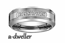 Men's Tungsten Carbide Diamond wedding band Ring size 7 to 14