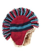 NWT Kid GAP Faux fur Striped Knit Mohawk Hat Russian Red Winter Snow NEW Boy S M