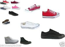 BASEBALL STYLE TRAINERS LACE UP CANVAS SHOES PUMPS PLIMSOLLS ladies girls boys