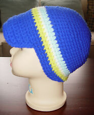 HANDMADE CROCHET KNIT HATS FOR BABIES & KIDS-NEWSBOY CAP-BLUE STRIPE-SZ 0-5 YRS