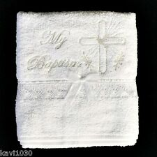 White Christening Baptism Towel Embroidered Gold Cross Lace Trim B-99