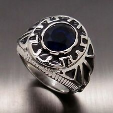 Men Sapphire Blue Cubic Zirconia 316L Stainless Steel Ring