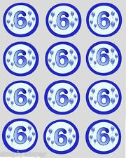 12 Blue Balloons Birthday Age 1st -10th Cupcake Decoration Cake Toppers 40mm Cut