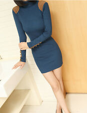 Stylish Strechy Turtleneck Pullover Winter Wear Sweater Dress For Women