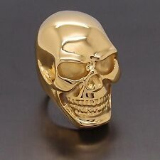 MENS Huge Heavy Gold Skull 316L Stainless Steel Biker Ring