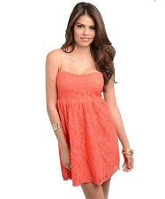 SASSY STRAPLESS BABY DOLL DRESS WITH FLORAL LACE DESIGN / ASSORTED COLORS NWOT
