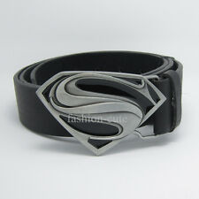 New Dc Comics Superman Movie Man of steel Silver Mens Metal Belt Buckle Leather