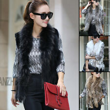 Women Farm Real Knitted Rabbit and Raccoon Collar Vest Gilet Cheaper Waistcoat
