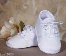Boys White Oxford Soft Sole Shoes Christening Baptism Polyester & Matte Satin
