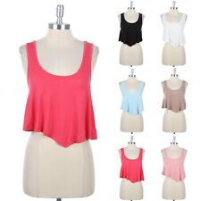 Sleeveless Solid Plain Scoop Neck Racerback Cropped Tank Top Casual Cute S M L