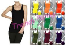 STRETCHY Basic COTTON RIBBED Long Tank Top Shirt Slim Fit Workout Sports