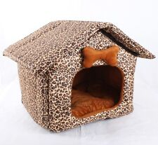 New Leopard Print Oxford Pet Dog Cat House Bed Folded House Size S Kennel