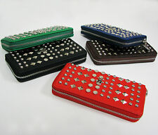 Women's Long Wallet Skull Studded Zip-Around Fashion Purse Clutch Card Hand Bag